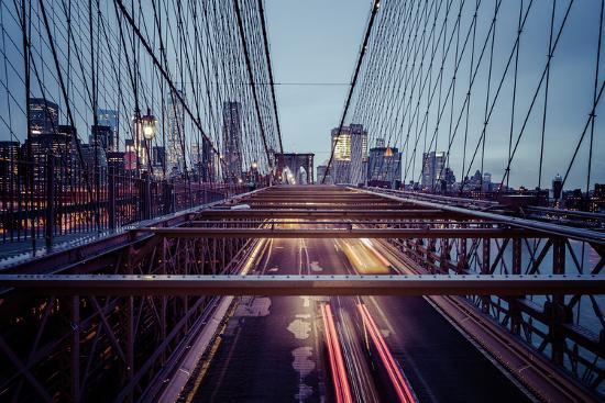Traffic on Brooklyn Bridge, rainy evening, skyscrapers and skyline of Manhattan, New York, USA-Andrea Lang-Photographic Print