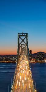 Traffic on the Bay Bridge, San Francisco Bay, San Francisco, California, USA