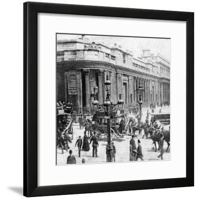 Traffic Passing the Bank of England, London, C Late 19th Century--Framed Photographic Print