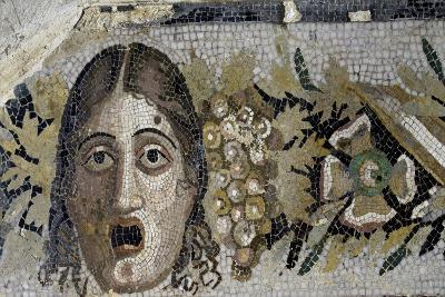 Tragic Mask and Festoon of Flowers and Fruit, Mosaic from Roman Villa in Rabat, Morocco BC--Giclee Print