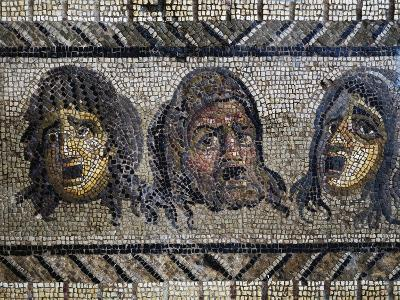 Tragic Masks, Detail from Mosaic of Triumph of Dionysus Uncovered in Daphne, Antioch, Turkey--Giclee Print