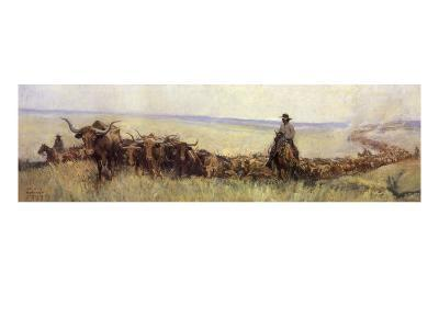 Trail Herd to Wyoming, 1923--Giclee Print