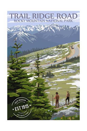 Trail Ridge Road - Rocky Mountain National Park - Rubber Stamp-Lantern Press-Art Print