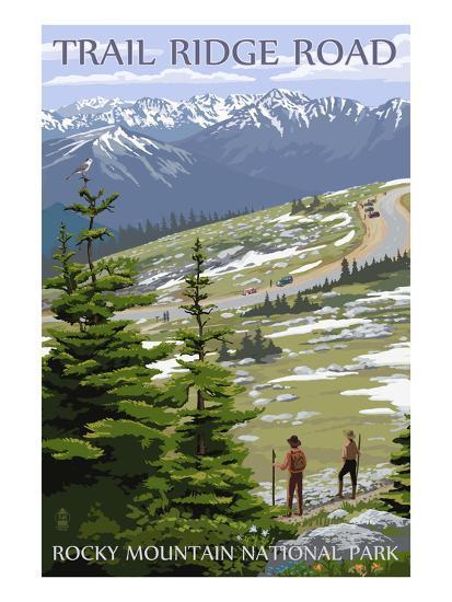 Trail Ridge Road - Rocky Mountain National Park-Lantern Press-Art Print