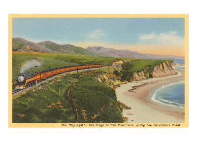 Train along California Coast--Art Print