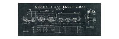 Train Blueprint II Black-Hugo Wild-Art Print