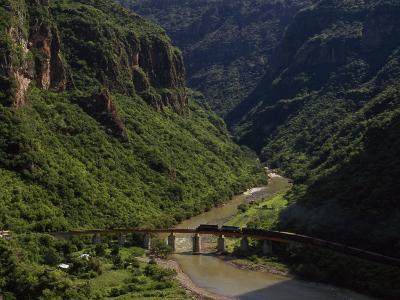 Train Crosses a Bridge at Temoris in Mexico's Copper Canyon Region, Chihuahua State, Mexico-Phil Schermeister-Photographic Print