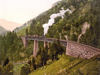 Train Crossing the Ravenna Viaduct of the Hollental Railway in the Ravenna Gorge--Photographic Print
