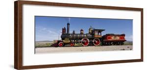 Train Engine on a Railroad Track, Locomotive 119, Golden Spike National Historic Site, Utah, USA