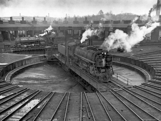 Train Engine on Turntable at Union Station roundhouse used to enable  engines to enter Photographic Print by Alfred Eisenstaedt | Art com