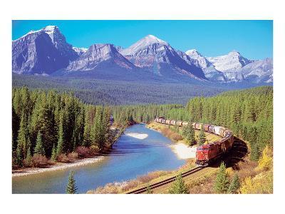 Train In The Rockies--Art Print