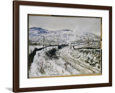 Train in the Snow at Argenteuil-Claude Monet-Framed Giclee Print