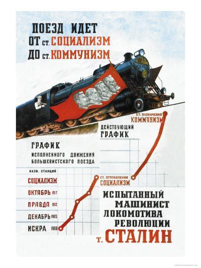 Train is Moving from the Socialist Station-Pavel Sokolov-skalya-Art Print