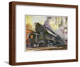 Train of the Pennsylvania Railroad is Hauled by Their Class T-1 Passenger Locomotive-null-Framed Premium Giclee Print