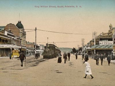 Train on King William Street, Adelaide, South Australia, 1900s--Photographic Print