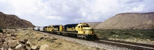 Train on Santa Fe Railroad, Route 66, Valentine, Arizona, USA