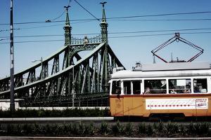 Train on Seven Bridges Budapest Hungary