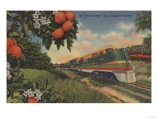 Train- Orange Blossom Special - Florida-Lantern Press-Art Print