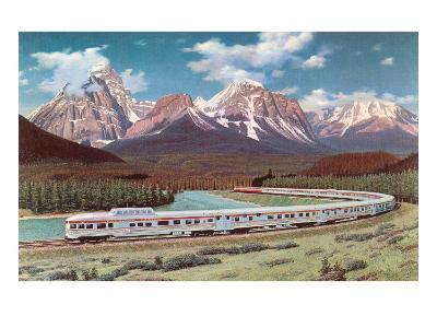 Train Passing through Rocky Mountains--Art Print