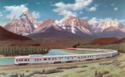 Train Passing through Rocky Mountains