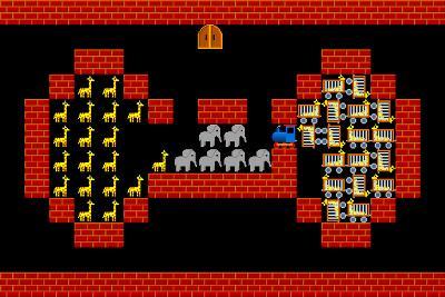 Train, Retro Style Game Pixelated Graphics-PandaWild-Photographic Print