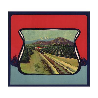 Train Through Orchard - Citrus Crate Label-Lantern Press-Art Print