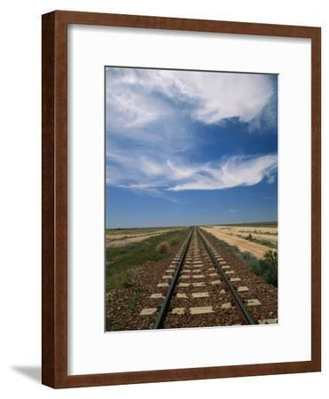 Train Tracks Crossing the Australian Outback-Richard Nowitz-Framed Photographic Print