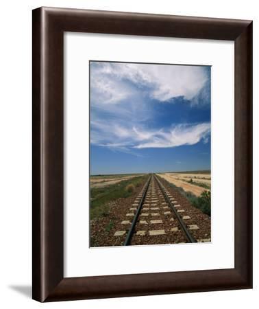 Train Tracks Crossing the Australian Outback-Richard Nowitz-Framed Photographic Print