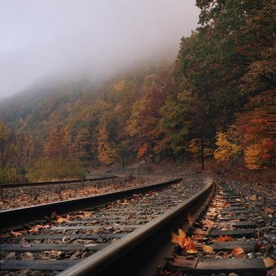Train Tracks, Fall and Fog-Owen Luther-Photographic Print