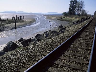 Train Tracks Leading to Bellingham, with San Juan Islands in Distance, Washington State-Aaron McCoy-Photographic Print