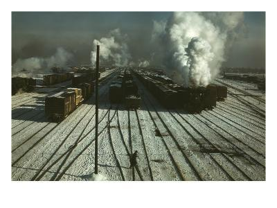 Train Yard in the Snow--Art Print