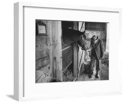 Trainer Jim Fitzsimons at Aqueduct Track Stables after William Woodward's Death in Stable-Grey Villet-Framed Premium Photographic Print