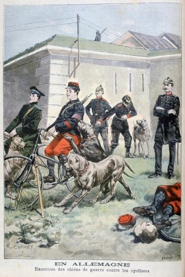 Training Army Dogs to Attack Cyclists, Germany, 1897-F Meaulle-Giclee Print