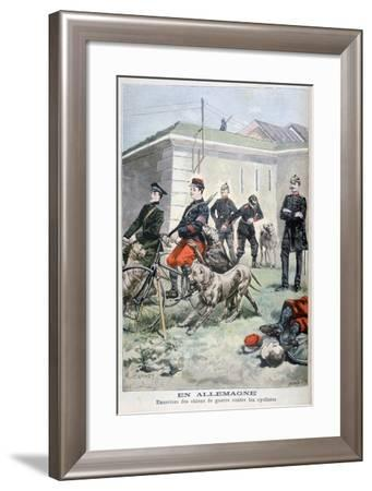 Training Army Dogs to Attack Cyclists, Germany, 1897-F Meaulle-Framed Giclee Print