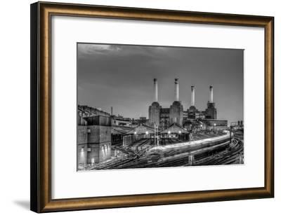 Trains pass Battersea Power Sation-Nick Jackson-Framed Art Print