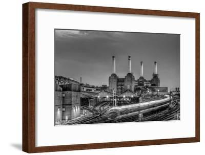 Trains pass Battersea Power Sation-Nick Jackson-Framed Art Print
