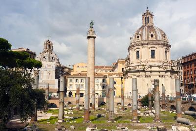 Trajan's Column Between Dome of St. Maria Di Loreto (Left) and Ss.Nome Di Maria, Latium, Italy-Nico Tondini-Photographic Print