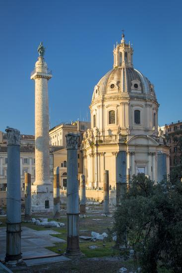 Trajans Column and Ruins of Trajans Forum, Rome Lazio Italy-Brian Jannsen-Photographic Print