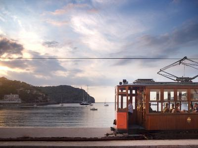 Tram at Sunset Set Against Yachts in Bay, Soller, Mallorca, Balearic Islands, Spain, Mediterranean--Photographic Print