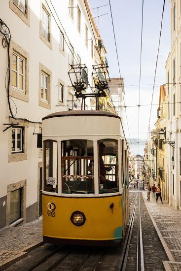 Tram in Elevador Da Bica, Lisbon, Portugal-Ben Pipe-Photographic Print