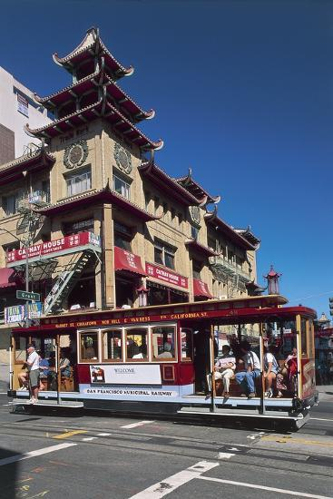 Tram in Front of a Building, Grant Avenue, Chinatown, San Francisco, California, Usa--Giclee Print