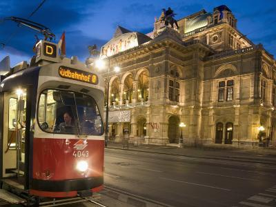 Tram Outside Statsoper (Opera House) at Opernring, Innere Stadt-Richard Nebesky-Photographic Print