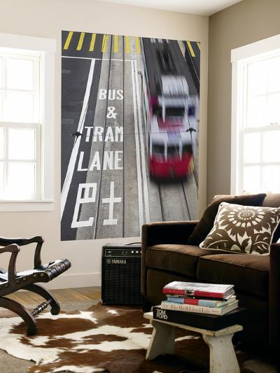 Tram Passing Along Des Voeux Road Central, Central, Hong Kong, China-Ian Trower-Wall Mural