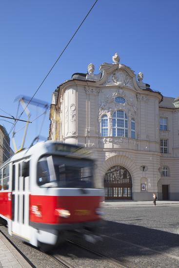 Tram Passing Reduta Palace, Bratislava, Slovakia-Ian Trower-Photographic Print
