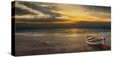 Tramonto sulla battigia-Adriano Galasso-Stretched Canvas Print
