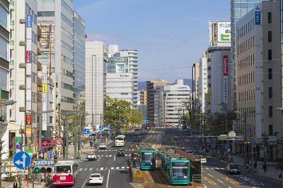 Trams and Traffic, Hiroshima, Hiroshima Prefecture, Japan-Ian Trower-Photographic Print