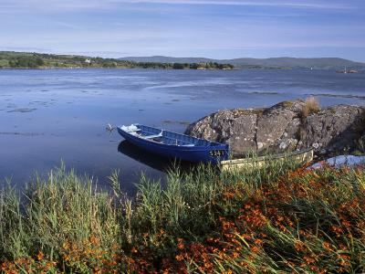 Tranquil Bay and Boat Near Adrigole, Beara Peninsula, County Cork, Munster, Republic of Ireland-Patrick Dieudonne-Photographic Print