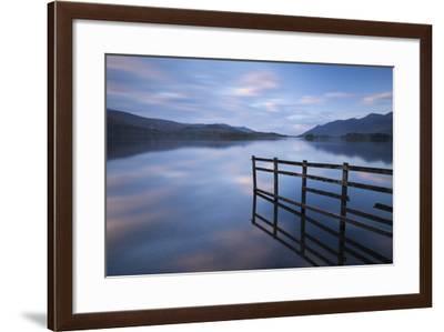 Tranquil Derwent Water at Dusk, Lake District, Cumbria, England. Autumn (October)-Adam Burton-Framed Photographic Print