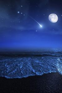 Tranquil Ocean at Night Against Starry Sky, Moon and Falling Meteorite