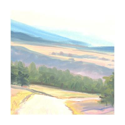 Tranquil Painted Landscape with Distant Mountains--Art Print